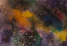 Fondo abstracto del cosmos de la acuarela, ningún universo de las estrellas Fotografía de archivo