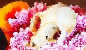 Fondo abstracto del cráneo en las flores rosadas libre illustration