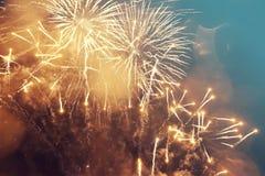 Fondo abstracto del día de fiesta con los fuegos artificiales Imagenes de archivo