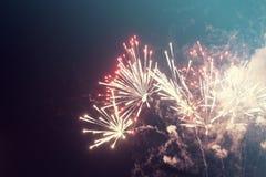 Fondo abstracto del día de fiesta con los fuegos artificiales Imagen de archivo