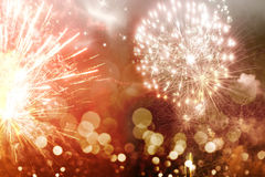 Fondo abstracto del día de fiesta con los fuegos artificiales Foto de archivo