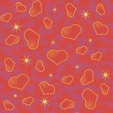 Fondo abstracto del día de tarjeta del día de San Valentín con muchos corazones rojos y las estrellas Foto de archivo libre de regalías