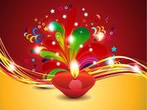 Fondo abstracto del diwali con el deepak ilustración del vector