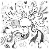 Fondo abstracto del doodle con el elefante Fotos de archivo libres de regalías