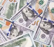 Fondo abstracto del efectivo del dinero de 100 dólares de EE. UU. Imágenes de archivo libres de regalías
