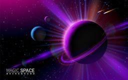 Fondo abstracto del espacio con las estrellas y la luna Fondo moderno del ejemplo del vector Elementos realistas del diseño del e fotos de archivo