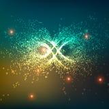 Fondo abstracto del espacio de vector Explosión de partículas que brillan intensamente Muestra del infinito Estilo futurista de l ilustración del vector