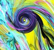Fondo abstracto del fractal con espiral colorido en amarillo Imagen de archivo