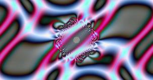 Fondo abstracto del fractal con un modelo de intercambio ondulado detallado y base circular central en rosado vivo y azul brillan stock de ilustración