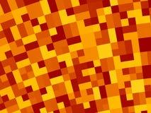 Fondo abstracto del fractal en rojo, anaranjado, amarillo y marrón, con un mosaico retro curvado del pixel Foto de archivo libre de regalías