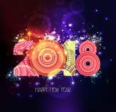 Fondo abstracto 2018 del fuego artificial de la Feliz Año Nuevo Foto de archivo libre de regalías