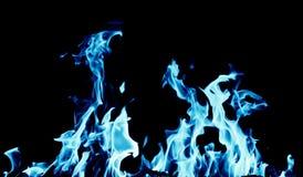 Fondo abstracto del fuego de la llama azul en fondo negro Fotografía de archivo libre de regalías