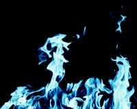 Fondo abstracto del fuego de la llama azul en fondo negro Imagen de archivo libre de regalías