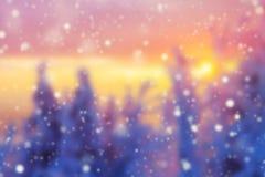 Fondo abstracto del invierno de la falta de definición en puesta del sol imagen de archivo