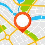 Fondo abstracto del mapa de la ciudad con el marcador libre illustration