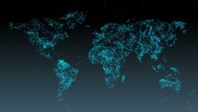 Fondo abstracto del mapa del mundo con las partículas y el plexo stock de ilustración