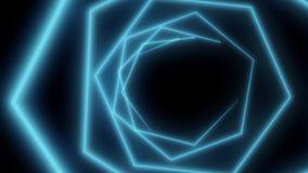 Fondo abstracto del movimiento de los hexágonos de neón Diseño inconsútil del lazo Animación video Hexágonos azules stock de ilustración