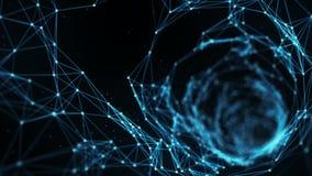 Fondo abstracto del movimiento - un vuelo a través del lazo del túnel del plexo de Digitaces ilustración del vector