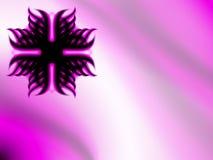 Fondo abstracto del negro y del rosa con un emblema circular Fotografía de archivo libre de regalías