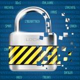 Fondo abstracto del ordenador con el código y la cerradura - peligro del cybe stock de ilustración