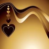 Fondo abstracto del oro con los corazones Fotografía de archivo libre de regalías