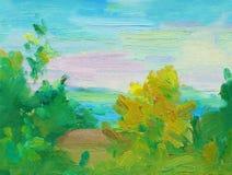 Fondo abstracto del paisaje de la pintura al óleo Pintura al óleo del mar y de los árboles, puesta del sol multicolora en el hori Imagen de archivo