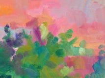 Fondo abstracto del paisaje de la pintura al óleo Una pintura al óleo en lona de una salida del sol colorida romántica por el mar Foto de archivo libre de regalías