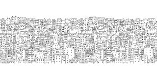 Fondo abstracto del paisaje urbano, modelo inconsútil stock de ilustración