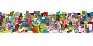 Fondo abstracto del paisaje urbano, modelo inconsútil para su diseño ilustración del vector