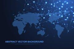 Fondo abstracto del plexo con las líneas y los puntos conectados Efecto geométrico del plexo Complejo grande de los datos con los stock de ilustración