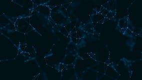 Fondo abstracto del plexo de la geometría con las partículas conectadas almacen de metraje de vídeo