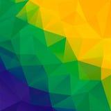 Fondo abstracto del polígono Colores de la bandera del Brasil Foto de archivo