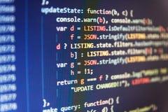 Fondo abstracto del software El corregir del código de los dígitos binarios Fondo abstracto del código fuente fotos de archivo