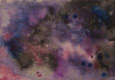 Fondo abstracto del universo de la acuarela, ningún cosmos de las estrellas Fotos de archivo libres de regalías