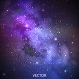 Fondo abstracto del vector con el cielo nocturno y las estrellas ejemplo del espacio exterior ilustración del vector