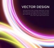 Fondo abstracto del vector con las curvas que brillan intensamente Fotografía de archivo