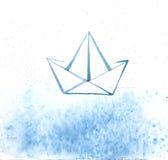 Fondo abstracto del vector del mar y de la nave El barco de papel representado balancea en el océano de la acuarela Ilustración d Fotos de archivo libres de regalías