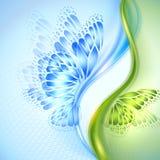 Fondo abstracto del verde azul de la onda con la mariposa Foto de archivo