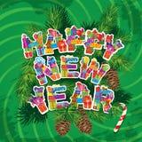 Fondo abstracto del verde de la Feliz Año Nuevo con el abeto  Imagenes de archivo