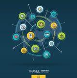 Fondo abstracto del viaje y del turismo Digitaces conectan el sistema con los círculos integrados, iconos planos del color Vector stock de ilustración