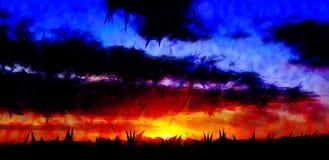 Fondo abstracto dramático de la puesta del sol libre illustration