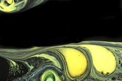 Fondo abstracto en negro con amarillo y verde imagenes de archivo