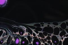 Fondo abstracto en negro con la web en las células inferiores y púrpuras foto de archivo libre de regalías