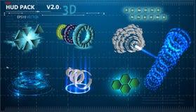 Fondo abstracto fantástico con diversos elementos del sistema 3d de HUD Sistema grande de los diversos elementos de HUD Cartas, e libre illustration