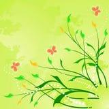 Fondo abstracto floral con la mariposa Foto de archivo libre de regalías