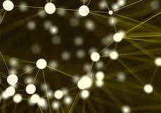 Fondo abstracto futurista amarillo de los nodos de red tecnología Fotos de archivo