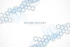 Fondo abstracto geométrico con la línea y los puntos conectados Concepto científico para su diseño Cryptocurrency global ilustración del vector