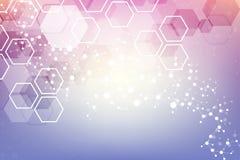 Fondo abstracto geométrico con la línea y los puntos conectados Molécula y comunicación de la estructura Concepto científico para Imagenes de archivo