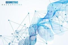 Fondo abstracto geométrico con la línea y los puntos conectados Molécula y comunicación de la estructura Concepto científico para Fotografía de archivo libre de regalías
