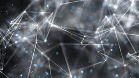 Fondo abstracto geométrico con las partículas flotantes almacen de metraje de vídeo